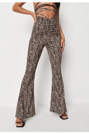 Missguided Brown Leopard Print Ruched Front Tie Wrap Flared Trousers, Leopard