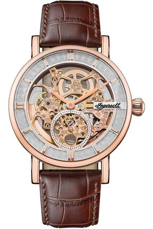 INGERSOLL 1892 1892 The Herald Rose Gold And Grey Skeleton Dial Leather Strap Automatic Mens Watch