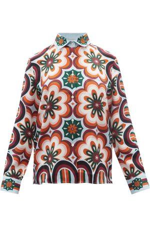 La DoubleJ Boy Tile-print Silk-twill Shirt - Womens - Multi
