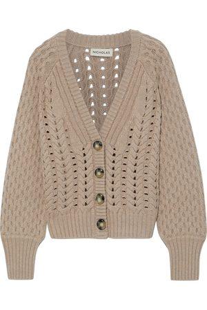 Nicholas Woman Savva Cable-knit Merino Wool Cardigan Mushroom Size L