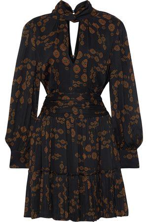 NICHOLAS Woman Gemma Cutout Pleated Printed Chiffon Mini Dress Size 0