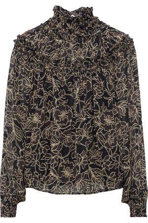 NICHOLAS Woman Romy Gathered Printed Chiffon Blouse Dark Size 0
