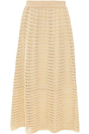 VINCE. Woman Crocheted Cotton-blend Midi Skirt Sand Size L