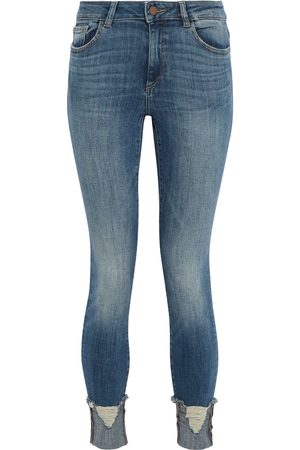 DL1961 Woman Florence Distressed Mid-rise Skinny Jeans Mid Denim Size 23