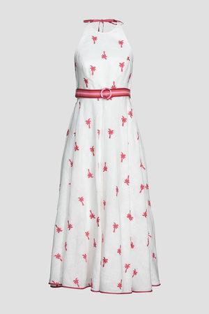 ZIMMERMANN Woman Embroidered Linen-gauze Halterneck Midi Dress Ivory Size 0
