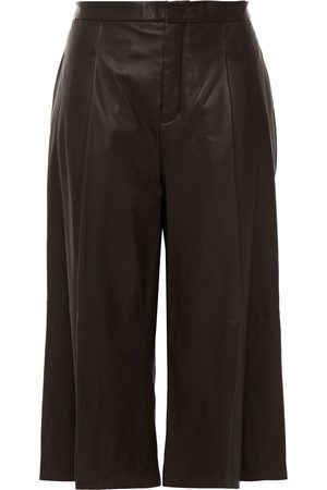 Vince Woman Leather Culottes Chocolate Size 0