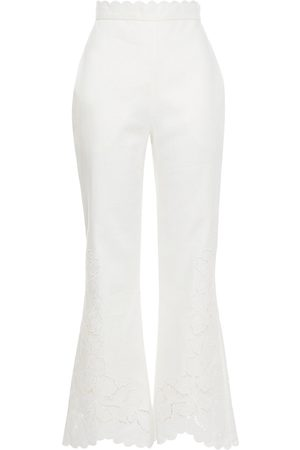 ZIMMERMANN Woman Carnaby Scallop Broderie Anglaise Linen Flared Pants Off- Size 0