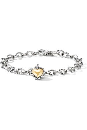 David Yurman Women Bracelets - 18kt yellow gold and sterling Cable Cookie Classic Heart charm bracelet