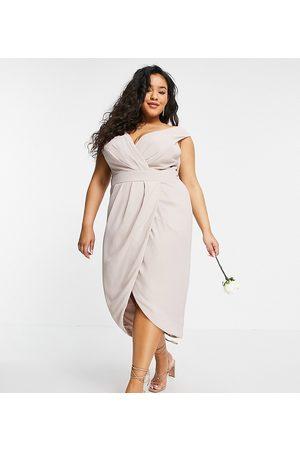 TFNC Women Midi Dresses - Bridesmaid wrap midi dress in