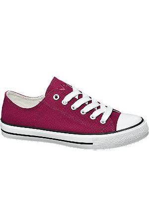 Vty Ladies Burgandy Lace-up Canvas Shoes