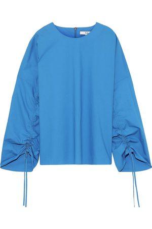 TIBI Woman Ruched Cotton-poplin Top Azure Size M