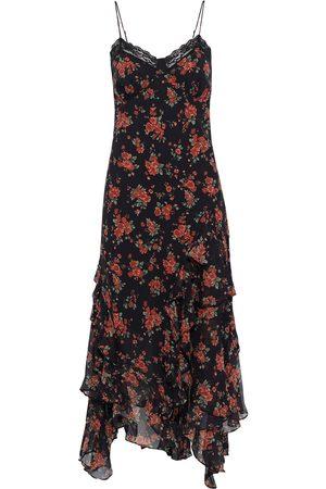 MICHAEL KORS COLLECTION Woman Lace-trimmed Ruffled Floral-print Silk-chiffon Midi Dress Size 0