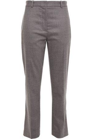 Joseph Woman Mélange Wool-blend Twill Tapered Pants Gray Size 38