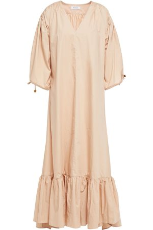 RODEBJER Woman Dakota Gathered Organic Cotton-poplin Maxi Dress Blush Size L