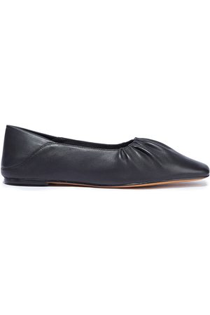 Vince Woman Kali Gathered Leather Collapsible-heel Flats Size 10