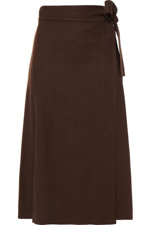 VINCE. Woman Woven Midi Wrap Skirt Chocolate Size 10