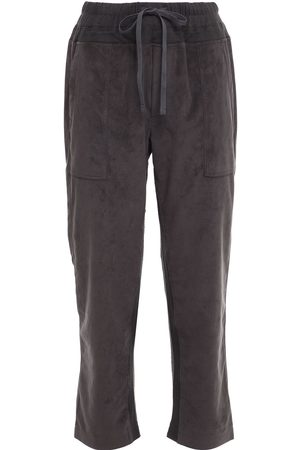 JAMES PERSE Woman Mixed Media Cropped Jersey-trimmed Faux Suede Track Pants Dark Gray Size 0