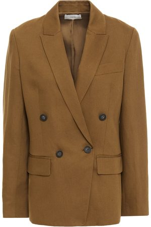 Vince Woman Double-breasted Linen-blend Twill Blazer Camel Size 0