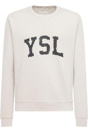 Saint Laurent Logo Print Cotton Sweatshirt
