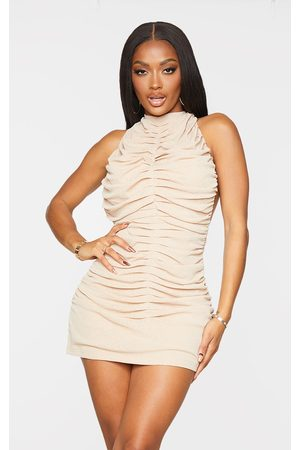 PRETTYLITTLETHING Shape Stone Halterneck Ruched Backless Bodycon Dress
