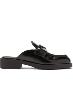 Prada Triangle Logo-plaque Leather Backless Loafers - Womens