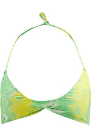 Ganni Abstract-print Recycled-fibre Jersey Bikini Top - Womens - Multi