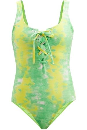 Ganni Abstract-print Recycled-fibre Jersey Swimsuit - Womens - Multi
