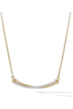 David Yurman Women Necklaces - 18kt yellow Crossover Bar diamond necklace