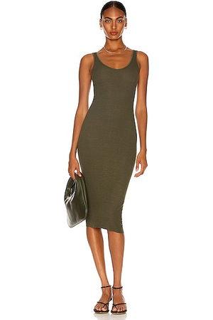 ENZA COSTA For FWRD Silk Rib Tank Dress in Dark Moss