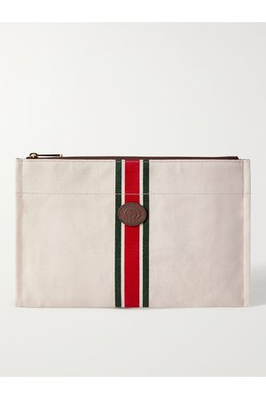 Gucci Men Purses & Wallets - Leather-Trimmed Striped Canvas Pouch
