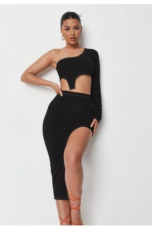 Missguided Women Crop Tops - Contrast Stitch Crop Top And Midi Skirt Co Ord Set