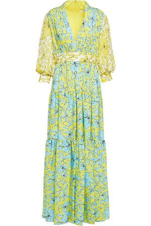Badgley Mischka Woman Tiered Gathered Floral-print Crepe Gown Pastel Size 0