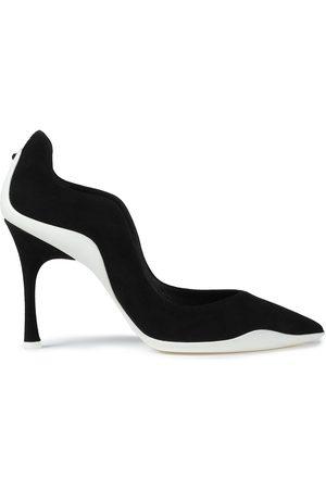 RENÉ CAOVILLA Women Heels - Woman Embellished Two-tone Suede Pumps Size 35