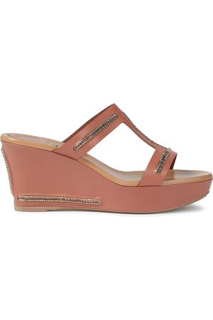 RENÉ CAOVILLA Woman Crystal-embellished Leather Wedge Sandals Antique Rose Size 35.5