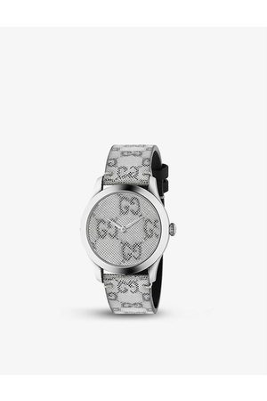 Gucci YA1264058 G-Timeless stainless-steel and leather quartz watch