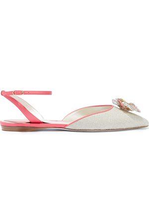 RENÉ CAOVILLA Woman Floral-appliquéd Leather-trimmed Woven Point-toe Flats Size 35