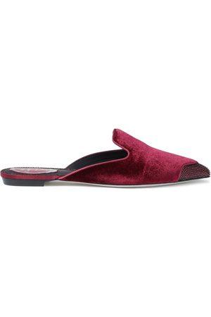 RENÉ CAOVILLA Woman Embellished Velvet Slippers Merlot Size 35