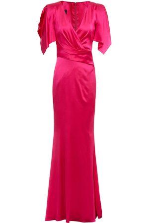 TALBOT RUNHOF Woman Socotra Wrap-effect Duchesse-satin Gown Fuchsia Size 32
