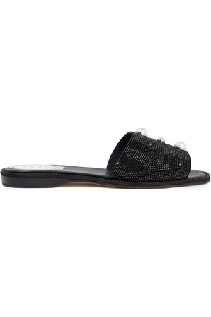 RENÉ CAOVILLA Woman Crystal And Faux Pearl-embellished Suede Slides Size 35