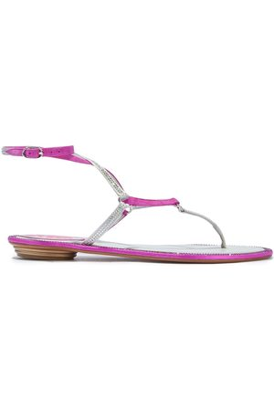 RENÉ CAOVILLA Woman Crystal-embellished Satin And Suede Sandals Fuchsia Size 35