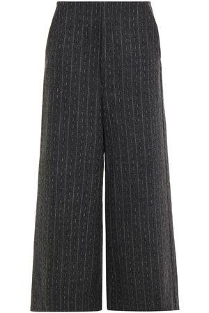 Gestuz Woman Cropped Pinstriped Felt Wide-leg Pants Dark Gray Size 34