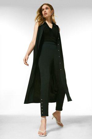 Karen Millen Women Formal Trousers - Karen Millen Soft Tailored Side Button Slim Trousers