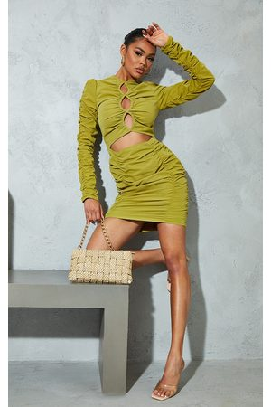 PRETTYLITTLETHING Olive Woven Ruched Multi Keyhole Cut Out Long Sleeve Bodycon Dress