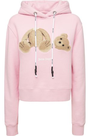 Palm Angels Women Sweatshirts - Lvr Exclusive Bear Fitted Cotton Hoodie
