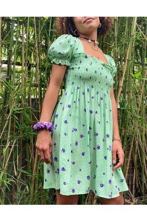 Stradivarius Square neck shirred mini dress in gingham