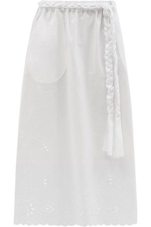 BELIZE Amia Belted Broderie-anglaise Cotton Midi Skirt - Womens