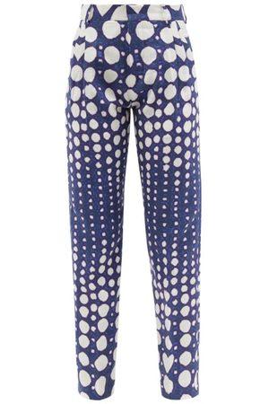 Charles Jeffrey Loverboy Women Skinny Trousers - Graphic Polka-dot Print Slim-leg Linen Trousers - Womens