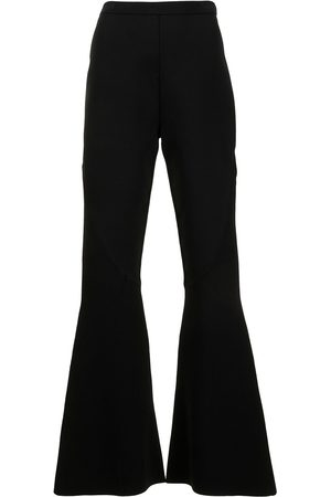 DION LEE Women Wide Leg Trousers - Rib collage flared trousers