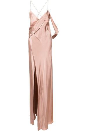 Michelle Mason Silk wrap floor-length gown