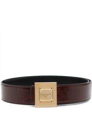 Dolce & Gabbana Men Belts - Engraved-logo leather buckle belt